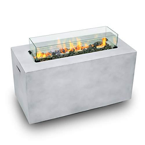 Gas-Feuerstelle für den Außenbereich, edler Feuertisch für Garten & Terrasse, elektronisch entzündbar, inkl. Lavasteine, Windschutz aus Spezialglas, Regenschutzhaube