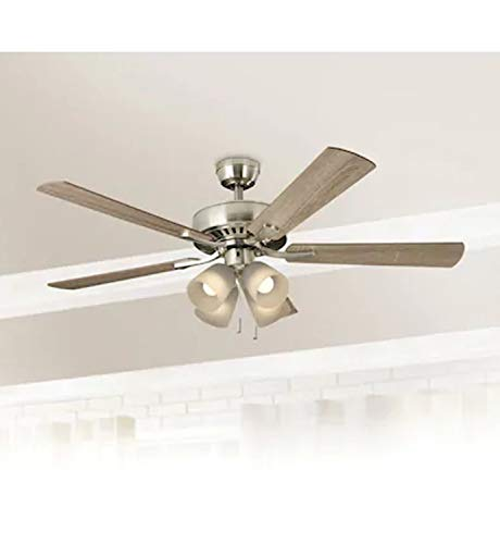 Harbor Breeze Grace Bay 52-in Nickel LED Indoor Ceiling Fan with Light Kit (5-Blade)