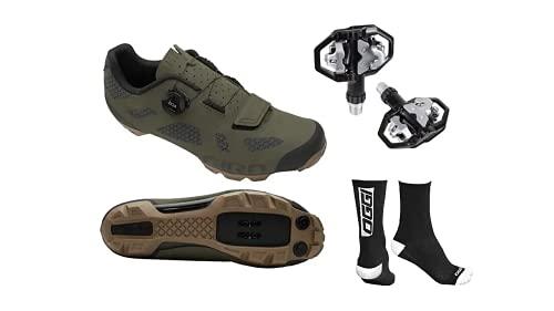 Sapatilha Ciclismo Bike Giro Rincon Boa Mtb Verde C/Pedal M279 + Brinde (Calço 39 (Enviar 40BR=42EUR))