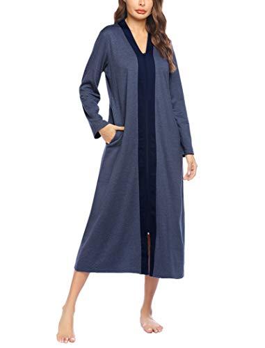 Ekouaer Women Zipper Robe Long Sleeve Loungewear Lightweight Housecoat Full Length Nightgown