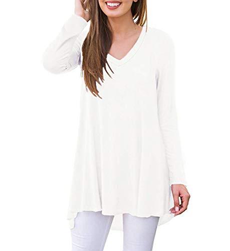 AUSELILY Damen T-Shirt Lange Ärmel V-Ausschnitt Lose Solide Tunika Bluse Tops(Weiß,40-42)