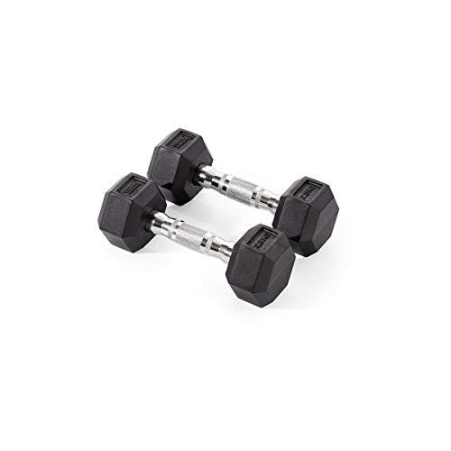 York Fitness Unisex Rubber Hex Dumbbells (Pair), Black, 7.5kg