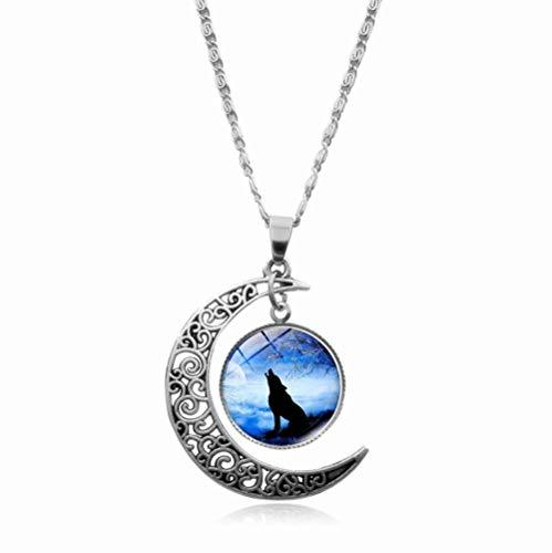 Collar con colgante de cadena de cabujón de cristal de lobo y lobo y luna creciente para hombres y mujeres-2