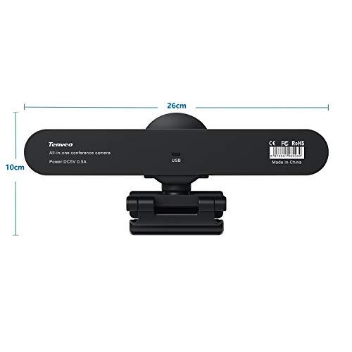 Tenveo VA200pro | 3-in-1 Webcam mit Lautsprecher und Mikrofon, 1080P Full HD 124 Grad Weitwinkel Kamera für Skype/Zoom Videokonferenzen und YouTube/Twitch/OBS Live Streaming