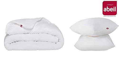 Abeil Kit - Piumino 300 g/m2 240 x 220 cm + 2 Cuscini 60 x 60 cm, Poliestere, Bianco, 220 x 240 cm