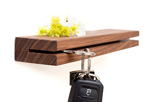klotzaufklotz Stabile Schlüsselleiste Holz | Schlüsselbrett |schwebend anzubringen - handgemacht aus Nussbaum massiv - Schlüsselboard 25cm
