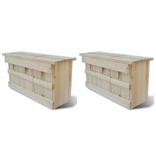 Festnight- 2er Set Holz Nistkasten Spatzenkolonie Spatzenhaus Sperlingsh?User für 3 Brutpaare, 44 x 15,5 x 21,5 cm