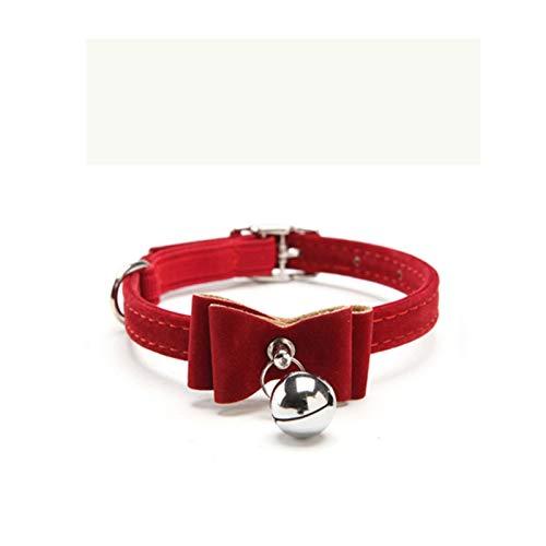 LWXFXBH Collar de Perro Cuello de Gato Cuello de Terciopelo sólido Colllar Pet Colllar Chihuahua Pitbull Perro Correa Suministros para Mascotas (Color : Dark Red pq0004, Size
