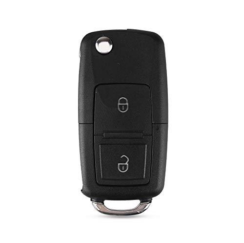 Hkgk 2 botones plegable mando a distancia llave flip plegable carcasa carcasa para Volkswagen Vw Jetta Golf Passat Beetle Skoda Seat Polo B5