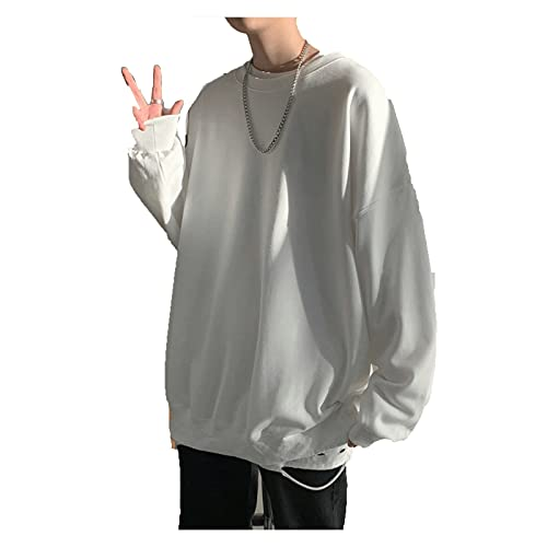 Zzalo Sudaderas con capucha para hombre Negro/Blanco Hip Hop Punk Pullover Streetwear Casual Fashion Ropa Hombres (Color : White, Size : XXL)