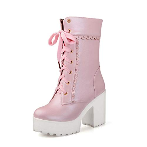 Elyffany Lolita High Heeled Boots Cosplay Lace Sweet Lady Shoes Fashion Brogue Shoes Pink