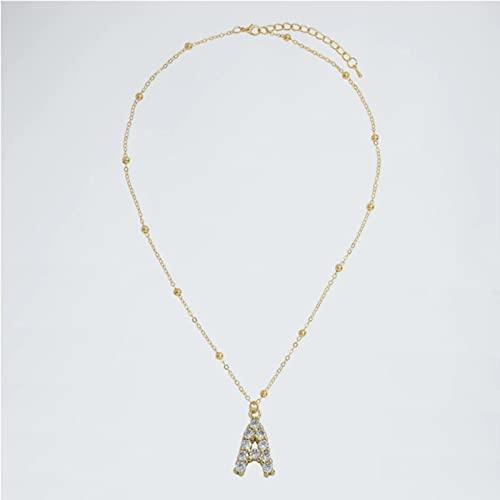 TTGE Collares de Perlas ZA con 26 Letras Iniciales para Mujer, Collares con Colgante de Cadena de eslabones de Color Dorado de Lujo, joyería de Moda, Regalo