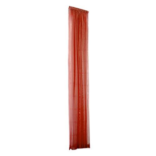 Xmiral Türvorhang Tüll Gardine 240cm x 150cm Einfarbig Scheibengardine mit Stangenloch Lichtdurchlässig (Rot)