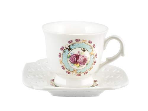 Royal Norfolk 725371 - Juego de 2 tazas de café, porcelana, diseño de flores, color azul