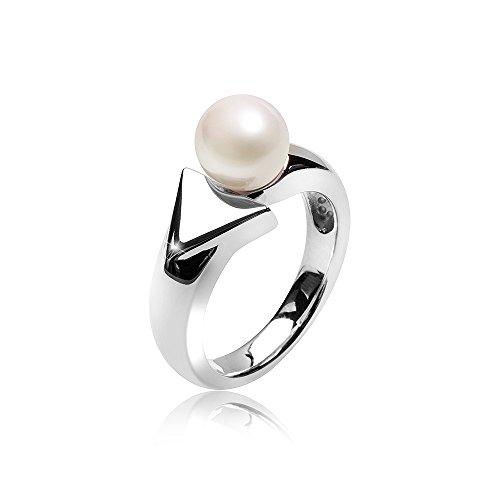 MATERIA Damen Perlenring Solitär Pfeil 925 Silber mit Perle weiß rhodiniert inklusive Ringbox #SR-101, Ringgrößen:57 (18.1 mm Ø)