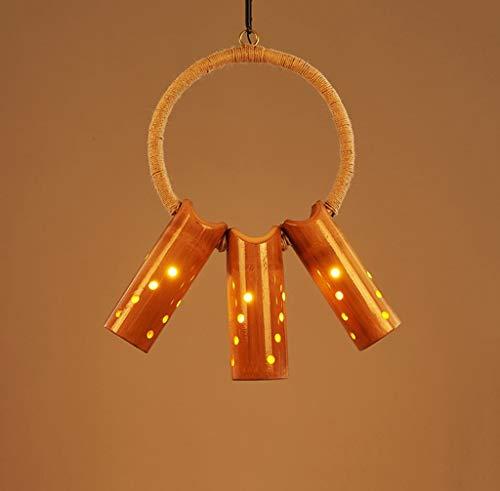 LJF Lampe . Lámpara de araña retro americana, cuerda de cáñamo de bambú, con personalidad, creativa, restaurante, bar, cafetería, tienda de ropa, E27 * 1/3 cabezas (tamaño: 3 cabezas)