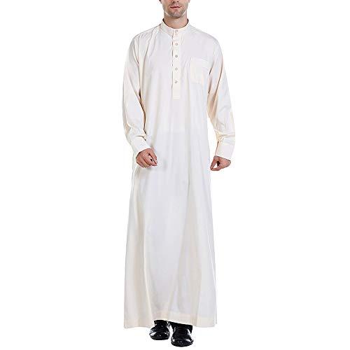 LXYDD Männer Muslimische Robe Dubai Arabische Abaya Kaftan Eid Islamisches Gebet Traditionelle Kleidung Langarm,Beige,M