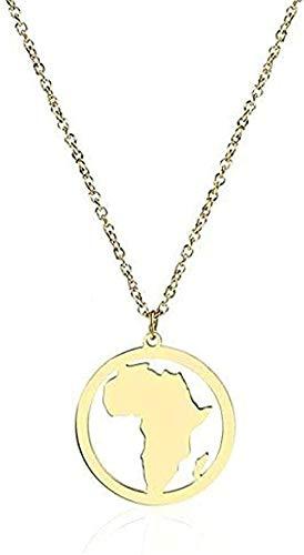 LKLFC Collar para Mujer Collar para Hombre Collar Colgante Oro África La Madre Patria Sudáfrica Tarjeta Colgante Collar Accesorio Joyería Africana Collar Colgante afrocéntrico Regalo para niñas niños