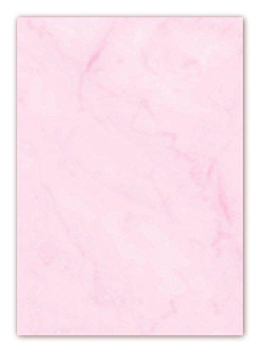 Gastronomie Papier (Rosa-Marmor, DIN A5, 25 Blatt, GPA-5008) für Speisekarten. Marmoriertes Papier, einseitig bedruckt, für alle Drucker/Kopierer geeignet