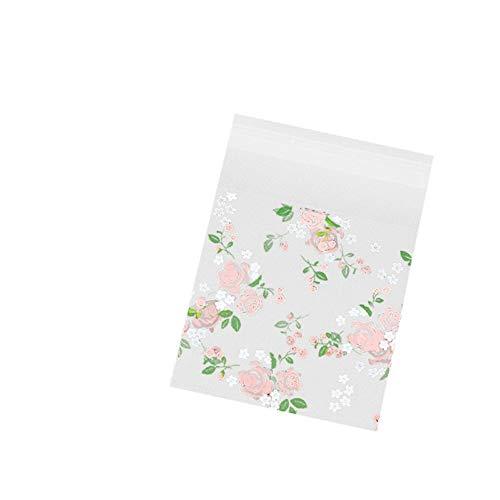 Cosanter 100 Pcs Sac à pâtisserie à Motif de Fleurs Stand Up Pouch réutilisable refermables Grip Seal Sacs de Stockage de Nourriture Sac d'emballage Pochettes