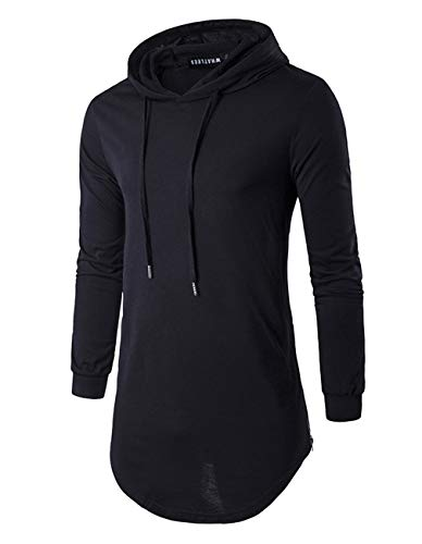 Jedyful Mens Hipster Long Sleeve Side Zipper Hooded Shirt Pullover Sweatshirt (XX-Large, Black)