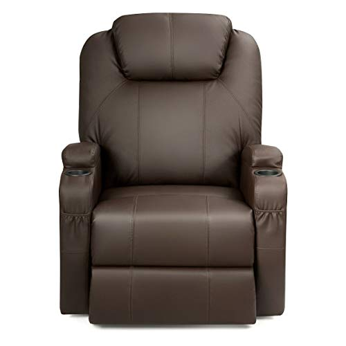 Sillón reclinable eléctrico con vibración calentada para masaje, café