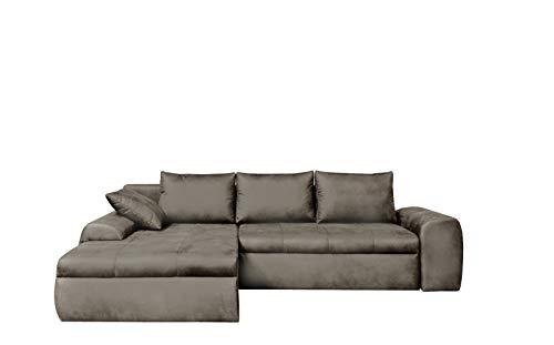 lifestyle4living Ecksofa mit Schlaffunktion und Bettkasten in Hell-Grau   Gemütliches Mikrofaser L-Sofa im Vintage-Look mit Stauraum inkl. 4 Rückenkissen