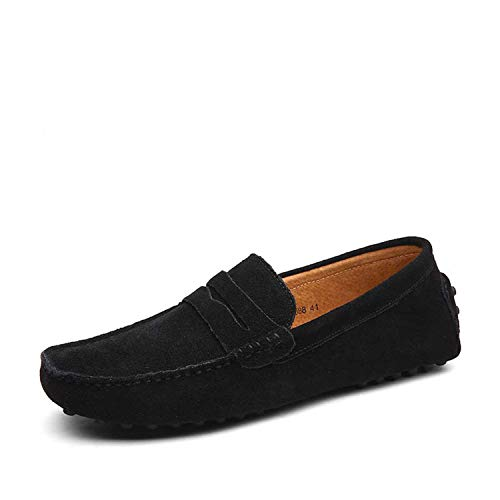 Fashion Spring Summer Style Moccasins Homme Men Loafers Shoes Genuine Leather Shoes Men Flats Casual Gommino Driving Shoes,Black,10