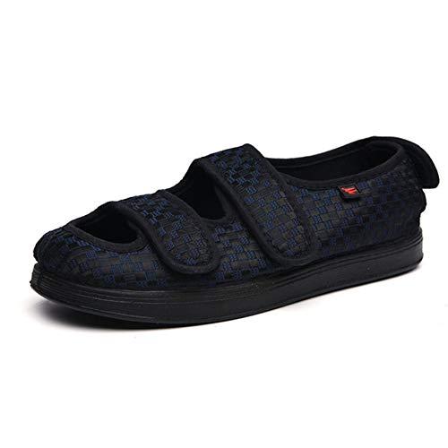 ZUEN 2Pcsfoot Geschwollene Schuhe, Fette Schuhe des Alten Mannes, Zuckerkranke Fußschuhe, Breite Füße, Lose, Glatt, Bequem, Sommer,Blue,39