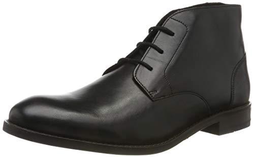 Clarks Herren Flow Top_Chukka Boots, Schwarz (Black Leather), 43 EU