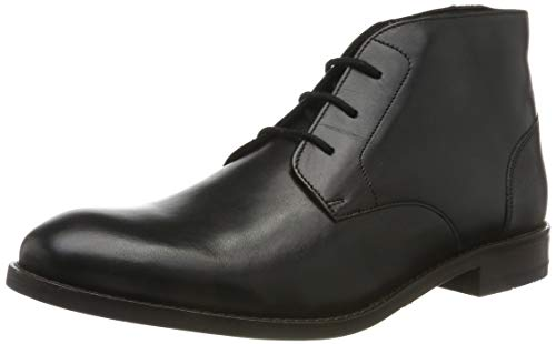Clarks Herren Flow Top_Chukka Boots, Schwarz (Black Leather), 43 EU
