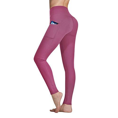 Occffy Cintura Alta Pantalón Deportivo de Mujer Leggings Mallas para Running Training Fitness Estiramiento Yoga y Pilates DS166 (Rosa Begonia, XXL)