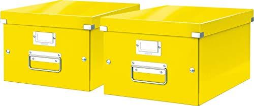 Leitz, Mittelgroße Aufbewahrungs- und Transportbox, Mit Deckel, Für A4, Click & Store (Gelb, Mittel   2er Pack)