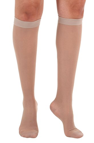 Made In The USA - Absolute Support 3XL Extra Wide Calf compression Socks for Women Circulation -Sheer Plus Size Knee High Socks, 15-20 mmHg Graduated Compression Hose For Women Beige, XXXL, A101BE6