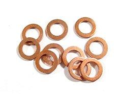 Kupfer-Dichtungsringe, flach, 11 mm Innendurchmesser x 14 mm Außendurchmesser x 1 mm Dicke, 5 Stück