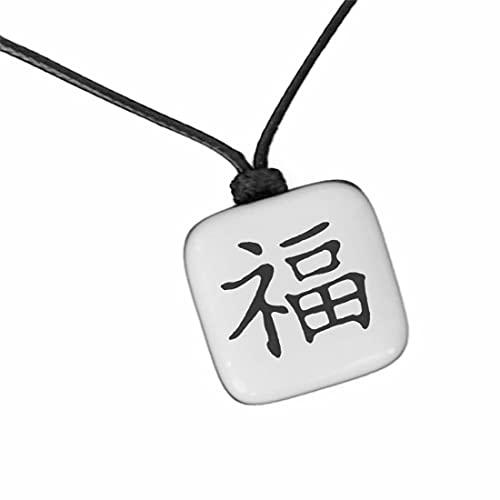 XanaLú Studio Kanji Felicidad, Colgante Felicidad en japonés para hombre, mujer, Regalo para mejor amigo, Collar con kanji presentado para regalo, hecho a mano (Kanji Felicidad Blanco)