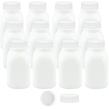 8 oz Small Plastic Milk Drink Juice Water Kids Lunch Bottles with White Caps 12Pk