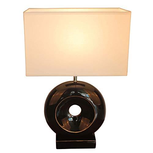Lámparas de mesa DKEE Blanco Material De Tela Cuadrada De Un Material De Resina Negro, Lámparas De Iluminación De Luz Cuerpo De La Lámpara Sobre Transmisivo Lámpara Circular Mesita De Noche Lámparas D