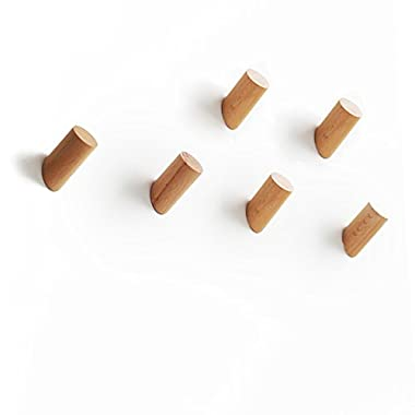 ETECHMART 3  Natural Wooden Coat Hooks Handcrafted Wall Mounted (Beech, Pack of 6)