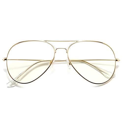 Dollger Blaulichtfilter Brille Computerbrille Ohne Sehstärke Anti-Müdigkeit UV Schutz Klassische Metallgestell Brille für Damen Herren Gold