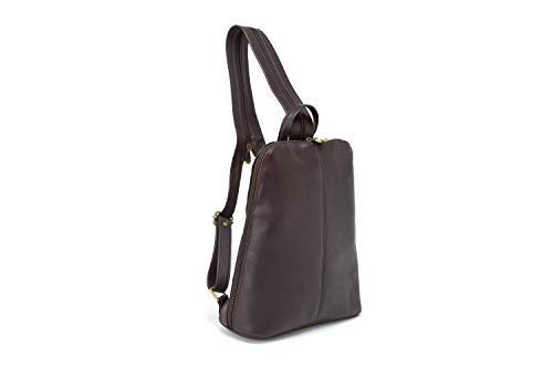 Le Donne Womens Leather iPad/eReader Backpack in Cafe
