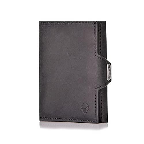 ヨーロッパで人気 本革 ミニ財布 メンズ 小さい財布 ミニ 財布 コンパクト 小さい ミニウォレット 三つ折り財布 ブランド 薄い財布 マネークリップ 薄い 人気 za057-black