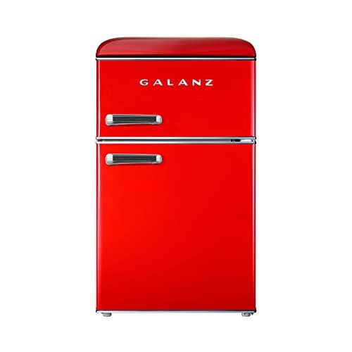 Galanz Retro 86L Mini Fridge Freezer, Free Standing, Standard Small Fridge with Top-Freezer, 48cm Wide, Red, RFFK003R
