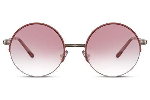 Cheapass Sonnenbrille Rund Silber Metall mit Orangefarbenem Rand Festival Sunglasses mit roten Verlaufsgläsern UV400 Männer Frauen
