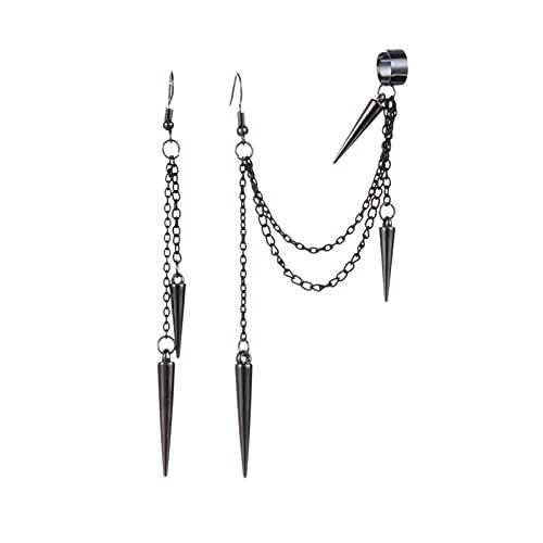 FKJSP Pendientes largos de cadena con borla negra retro para hombre, pendientes punk, pendientes de remache hiphop para mujer, pendientes góticos de joyería (color metálico: 02)
