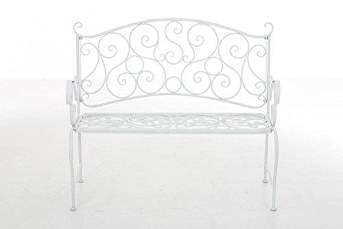 CLP Metall Gartenbank TUAN, 2-er Sitz-Bank Garten, Eisen lackiert, Design nostalgisch antik, 105 x 50 cm Weiß - 2