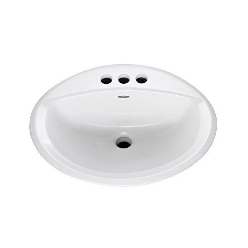 """American Standard 0476028.020 Aqualyn Oval Drop-In Bathroom Sink with 3 Faucet Holes (4 Centers), 16"""" x 10"""", White"""