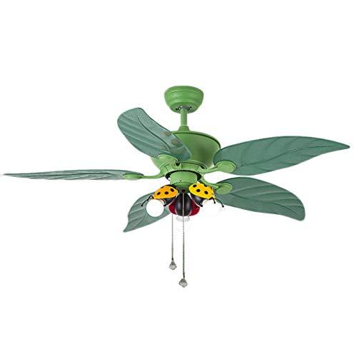 Duoer Home Plafondventilatoren, led-plafondventilator, restaurant, elektrische ventilator, verlichting, kinderkamer, woonkamer, slaapkamer, 5 vellen, groen