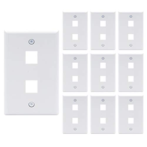 VCE 2-Port Keystone Wall Plate 10 Pack for Keystone Jack and Modular Inserts- White UL Listed