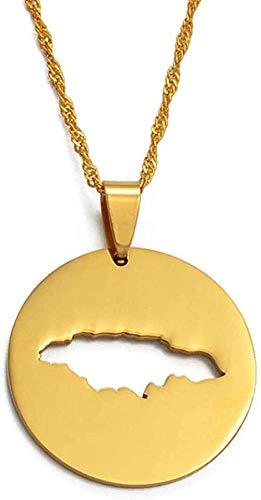 NC110 Collar Redondo Mapa De Jamaica Collares Colgantes Collar De Joyería De Jamaica De Color Dorado YUAHJIGE